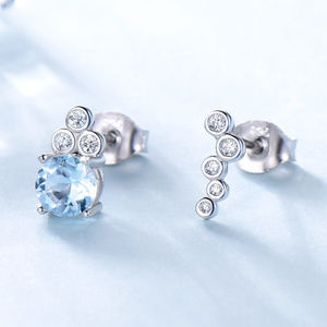 Blue Topaz 925 Sterling Silver Stud Earrings